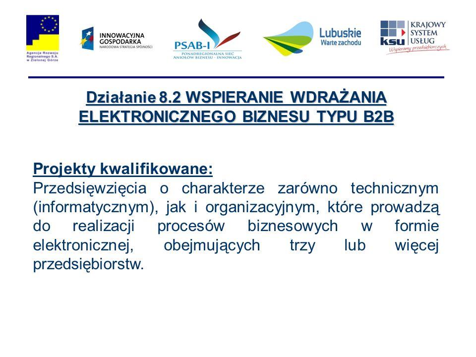 Działanie 8.2 WSPIERANIE WDRAŻANIA ELEKTRONICZNEGO BIZNESU TYPU B2B Projekty kwalifikowane: Przedsięwzięcia o charakterze zarówno technicznym (informa