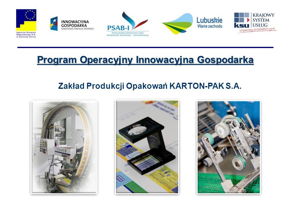Program Operacyjny Innowacyjna Gospodarka Zakład Produkcji Opakowań KARTON-PAK S.A.
