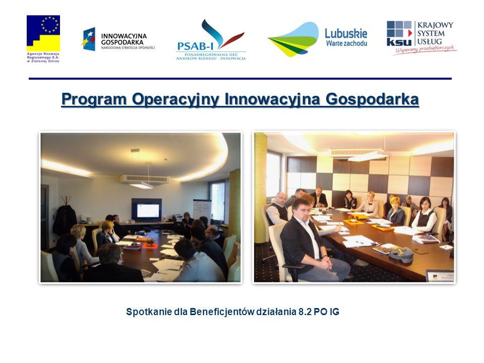 Program Operacyjny Innowacyjna Gospodarka Spotkanie dla Beneficjentów działania 8.2 PO IG