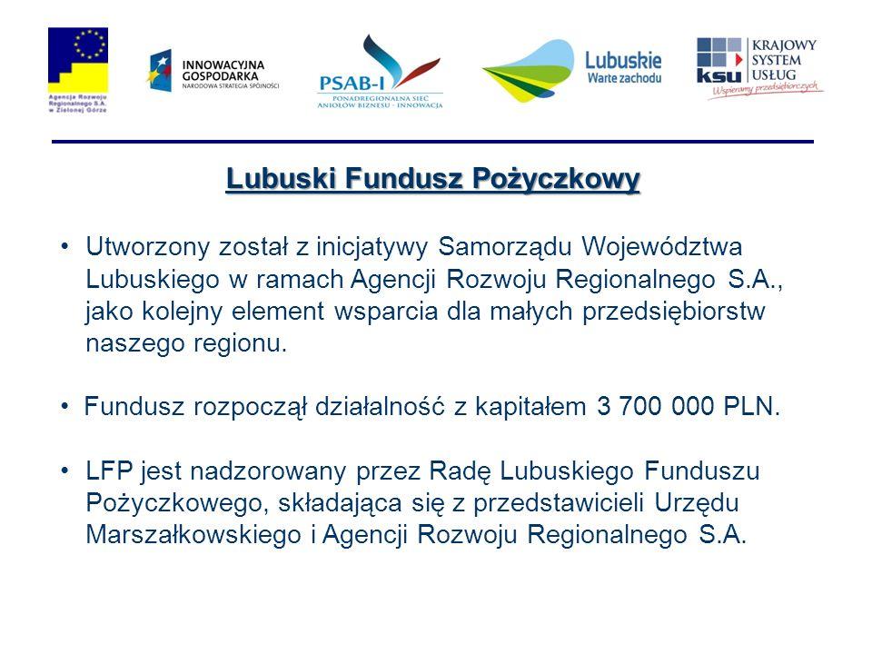 Lubuski Fundusz Pożyczkowy Utworzony został z inicjatywy Samorządu Województwa Lubuskiego w ramach Agencji Rozwoju Regionalnego S.A., jako kolejny element wsparcia dla małych przedsiębiorstw naszego regionu.