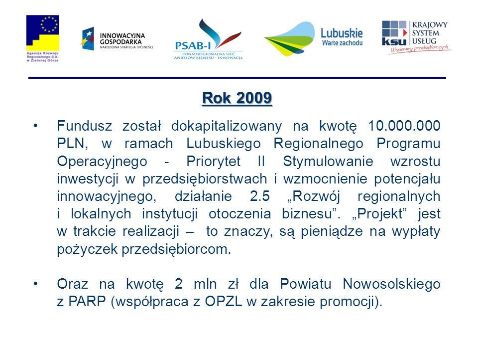 Rok 2009 Fundusz został dokapitalizowany na kwotę 10.000.000 PLN, w ramach Lubuskiego Regionalnego Programu Operacyjnego - Priorytet II Stymulowanie wzrostu inwestycji w przedsiębiorstwach i wzmocnienie potencjału innowacyjnego, działanie 2.5 Rozwój regionalnych i lokalnych instytucji otoczenia biznesu.