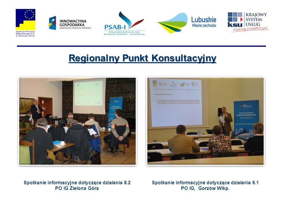 Regionalny Punkt Konsultacyjny Spotkanie informacyjne dotyczące działania 8.2 PO IG Zielona Góra Spotkanie informacyjne dotyczące działania 6.1 PO IG, Gorzów Wlkp.
