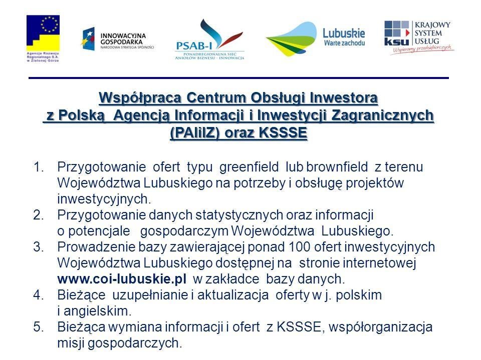 Współpraca Centrum Obsługi Inwestora z Polską Agencją Informacji i Inwestycji Zagranicznych (PAIiIZ) oraz KSSSE z Polską Agencją Informacji i Inwestycji Zagranicznych (PAIiIZ) oraz KSSSE 1.Przygotowanie ofert typu greenfield lub brownfield z terenu Województwa Lubuskiego na potrzeby i obsługę projektów inwestycyjnych.