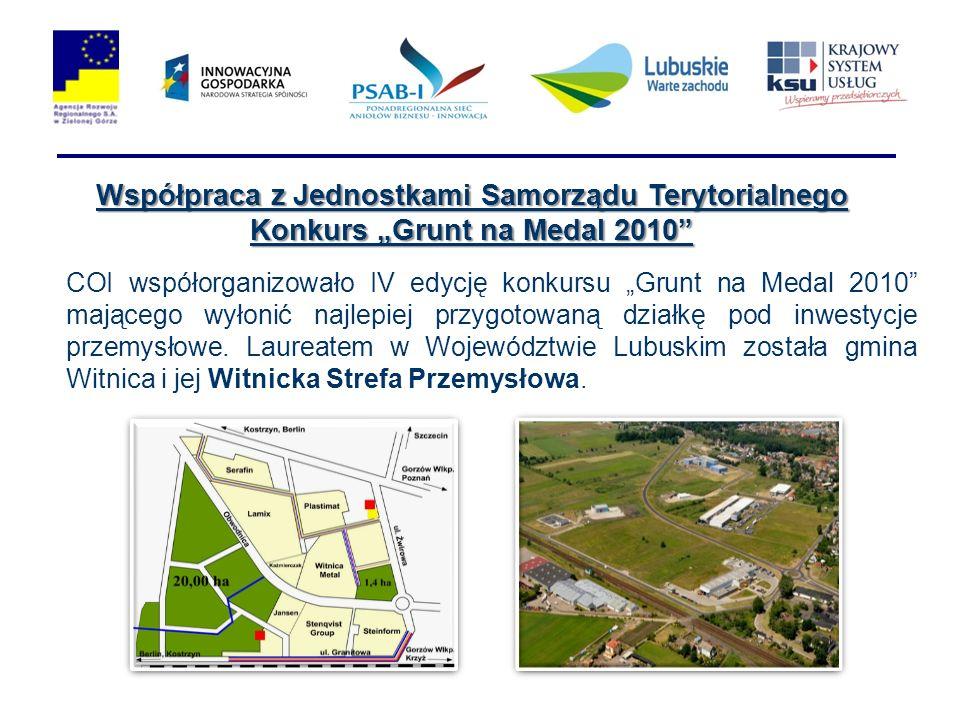 Współpraca z Jednostkami Samorządu Terytorialnego Konkurs Grunt na Medal 2010 COI współorganizowało IV edycję konkursu Grunt na Medal 2010 mającego wyłonić najlepiej przygotowaną działkę pod inwestycje przemysłowe.