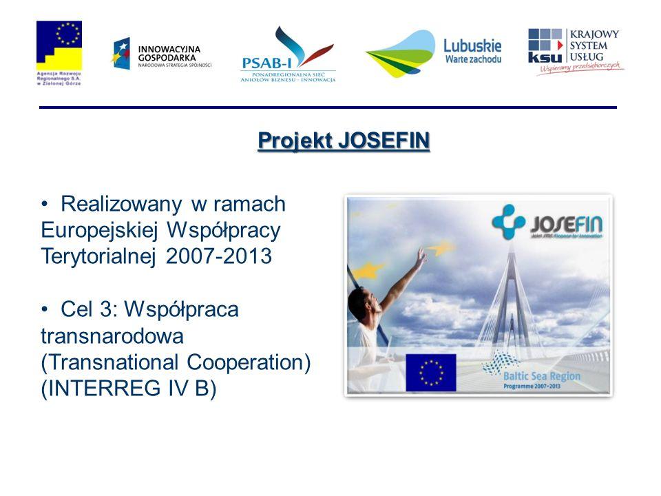 Realizowany w ramach Europejskiej Współpracy Terytorialnej 2007-2013 Cel 3: Współpraca transnarodowa (Transnational Cooperation) (INTERREG IV B) Projekt JOSEFIN