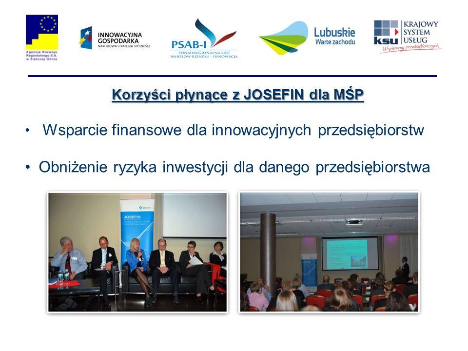 Korzyści płynące z JOSEFIN dla MŚP Wsparcie finansowe dla innowacyjnych przedsiębiorstw Obniżenie ryzyka inwestycji dla danego przedsiębiorstwa