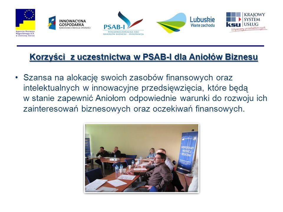Korzyści z uczestnictwa w PSAB-I dla Aniołów Biznesu Szansa na alokację swoich zasobów finansowych oraz intelektualnych w innowacyjne przedsięwzięcia, które będą w stanie zapewnić Aniołom odpowiednie warunki do rozwoju ich zainteresowań biznesowych oraz oczekiwań finansowych.