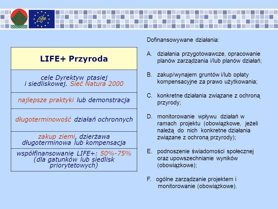 LIFE+ Przyroda cele Dyrektyw ptasiej i siedliskowej. Sieć Natura 2000 najlepsze praktyki lub demonstracja długoterminowość działań ochronnych zakup zi