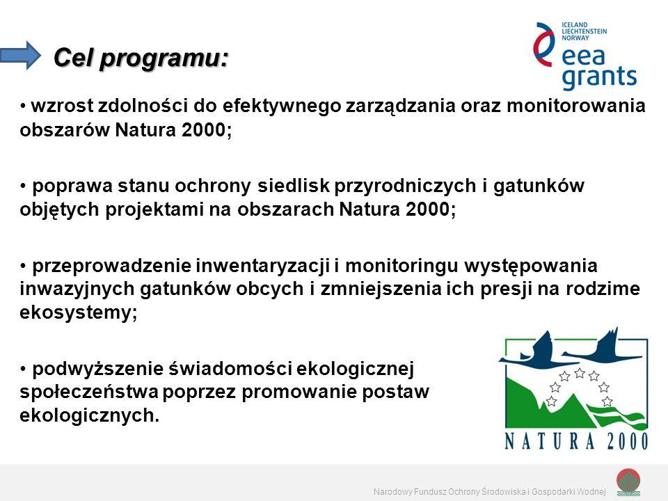 Narodowy Fundusz Ochrony Środowiska i Gospodarki Wodnej wzrost zdolności do efektywnego zarządzania oraz monitorowania obszarów Natura 2000; poprawa stanu ochrony siedlisk przyrodniczych i gatunków objętych projektami na obszarach Natura 2000; przeprowadzenie inwentaryzacji i monitoringu występowania inwazyjnych gatunków obcych i zmniejszenia ich presji na rodzime ekosystemy; podwyższenie świadomości ekologicznej społeczeństwa poprzez promowanie postaw ekologicznych.
