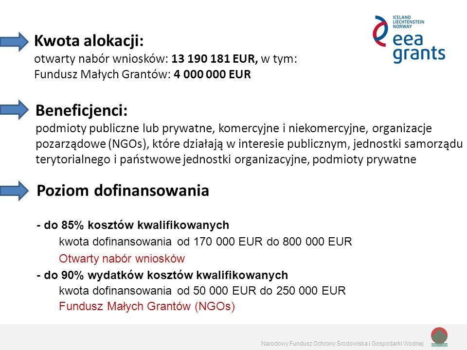 Narodowy Fundusz Ochrony Środowiska i Gospodarki Wodnej Kwota alokacji: otwarty nabór wniosków: 13 190 181 EUR, w tym: Fundusz Małych Grantów: 4 000 000 EUR Beneficjenci: podmioty publiczne lub prywatne, komercyjne i niekomercyjne, organizacje pozarządowe (NGOs), które działają w interesie publicznym, jednostki samorządu terytorialnego i państwowe jednostki organizacyjne, podmioty prywatne Poziom dofinansowania - do 85% kosztów kwalifikowanych kwota dofinansowania od 170 000 EUR do 800 000 EUR Otwarty nabór wniosków - do 90% wydatków kosztów kwalifikowanych kwota dofinansowania od 50 000 EUR do 250 000 EUR Fundusz Małych Grantów (NGOs)