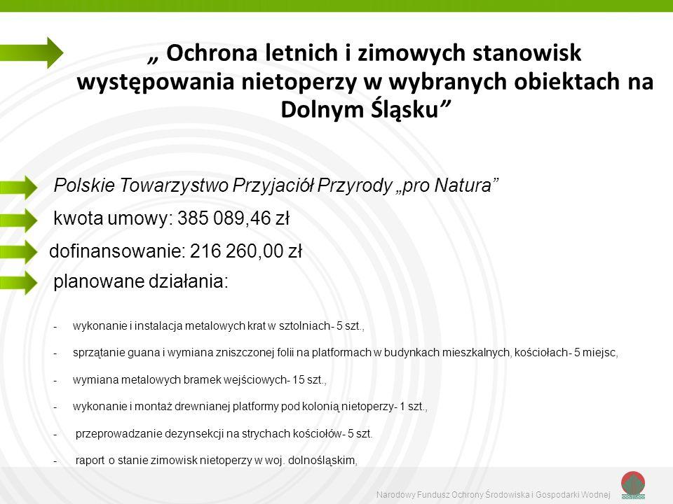 Ochrona letnich i zimowych stanowisk występowania nietoperzy w wybranych obiektach na Dolnym Śląsku kwota umowy: 385 089,46 zł planowane działania: -