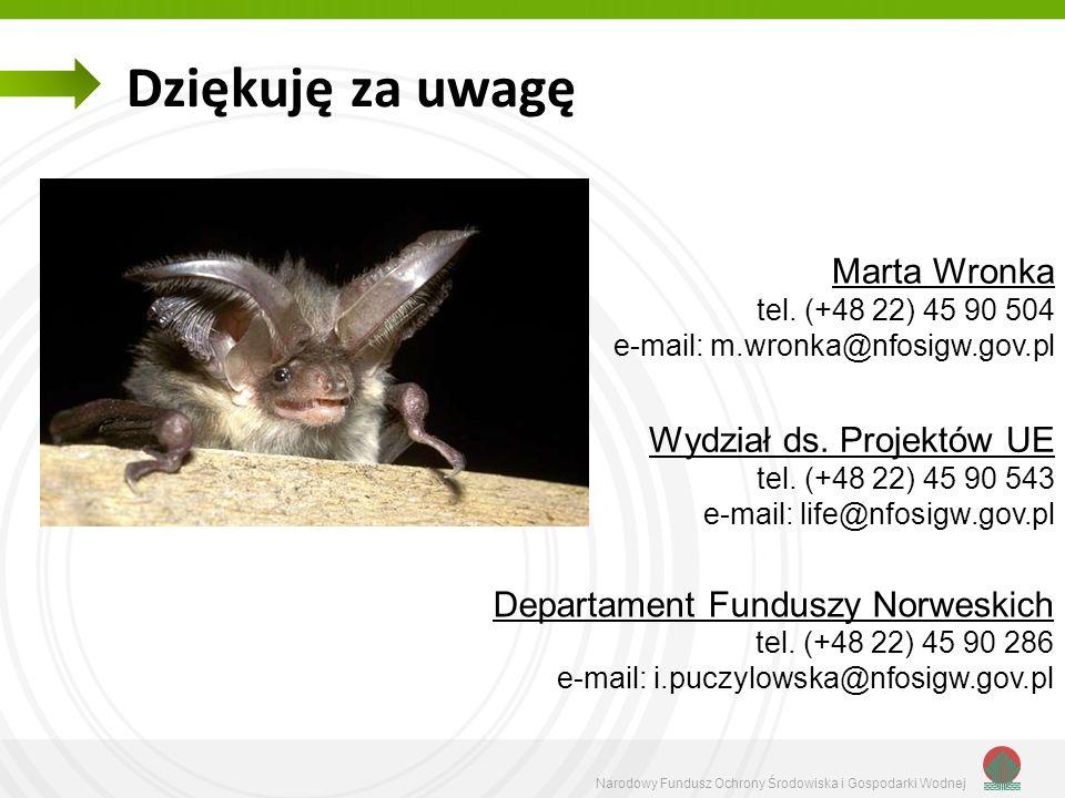 Marta Wronka tel. (+48 22) 45 90 504 e-mail: m.wronka@nfosigw.gov.pl Dziękuję za uwagę Departament Funduszy Norweskich tel. (+48 22) 45 90 286 e-mail: