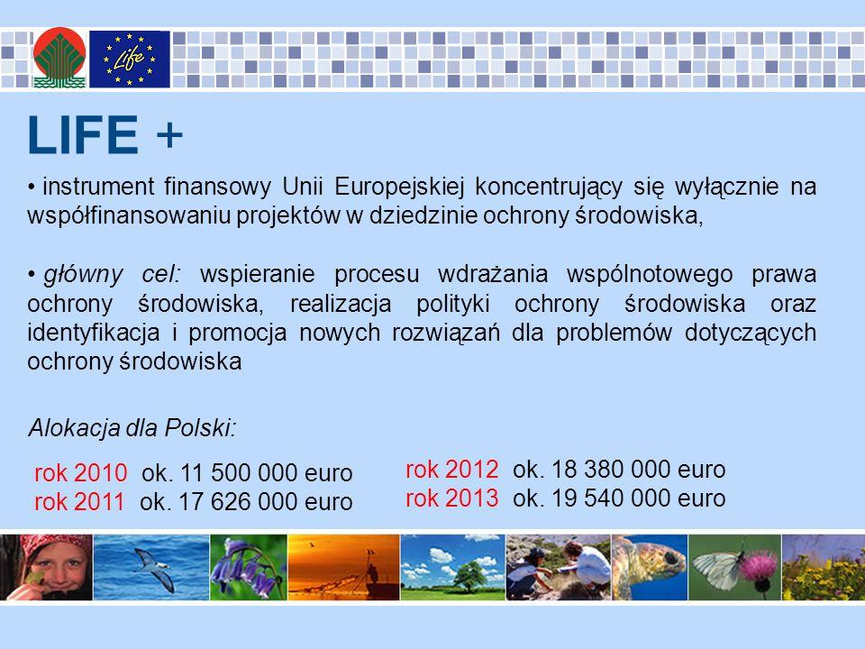 LIFE + instrument finansowy Unii Europejskiej koncentrujący się wyłącznie na współfinansowaniu projektów w dziedzinie ochrony środowiska, główny cel: wspieranie procesu wdrażania wspólnotowego prawa ochrony środowiska, realizacja polityki ochrony środowiska oraz identyfikacja i promocja nowych rozwiązań dla problemów dotyczących ochrony środowiska Alokacja dla Polski: rok 2010 ok.