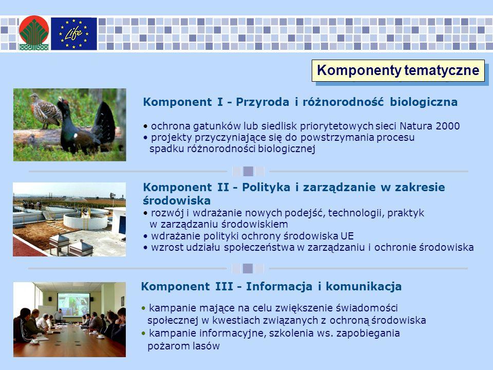 Komponent I - Przyroda i różnorodność biologiczna ochrona gatunków lub siedlisk priorytetowych sieci Natura 2000 projekty przyczyniające się do powstrzymania procesu spadku różnorodności biologicznej Komponent II - Polityka i zarządzanie w zakresie środowiska rozwój i wdrażanie nowych podejść, technologii, praktyk w zarządzaniu środowiskiem wdrażanie polityki ochrony środowiska UE wzrost udziału społeczeństwa w zarządzaniu i ochronie środowiska Komponent III - Informacja i komunikacja kampanie mające na celu zwiększenie świadomości społecznej w kwestiach związanych z ochroną środowiska kampanie informacyjne, szkolenia ws.