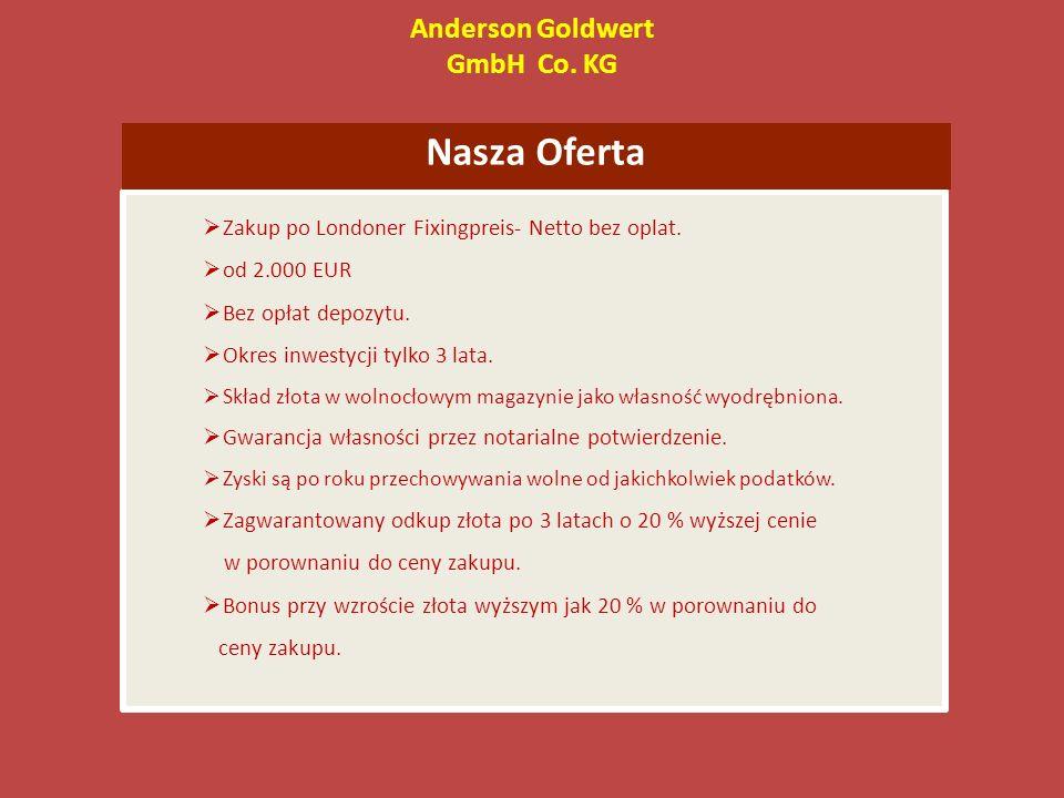 Anderson Goldwert GmbH Co. KG Nasza Oferta Zakup po Londoner Fixingpreis- Netto bez oplat.