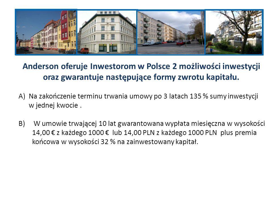 Anderson oferuje Inwestorom w Polsce 2 możliwości inwestycji oraz gwarantuje następujące formy zwrotu kapitału.