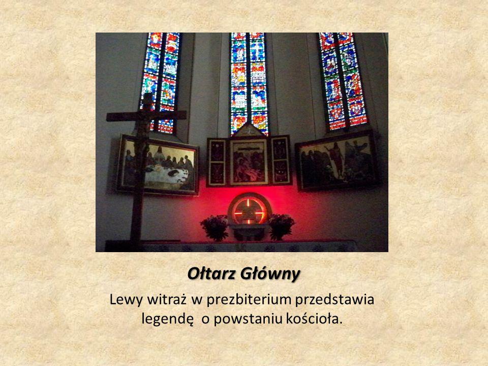 Ołtarz Główny Lewy witraż w prezbiterium przedstawia legendę o powstaniu kościoła.