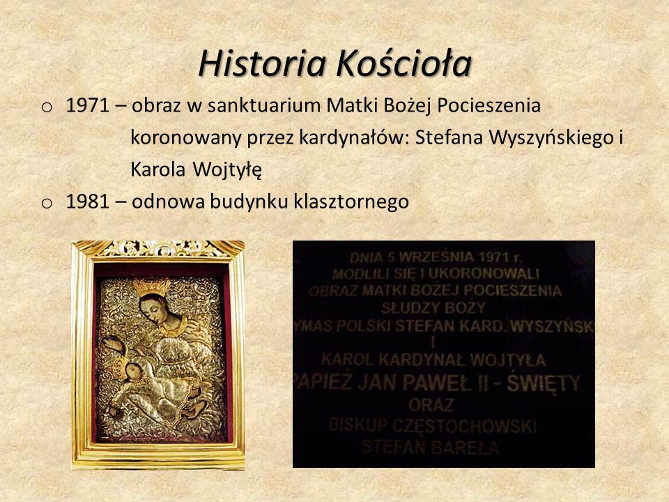 Historia Kościoła o 1971 – obraz w sanktuarium Matki Bożej Pocieszenia koronowany przez kardynałów: Stefana Wyszyńskiego i Karola Wojtyłę o 1981 – odnowa budynku klasztornego
