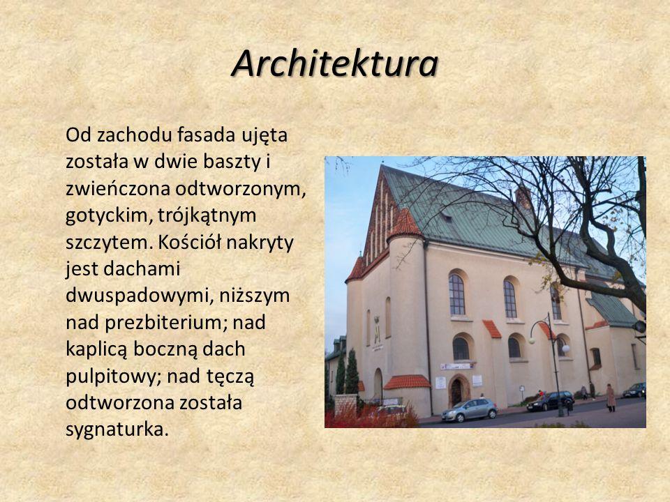 Architektura Od zachodu fasada ujęta została w dwie baszty i zwieńczona odtworzonym, gotyckim, trójkątnym szczytem.