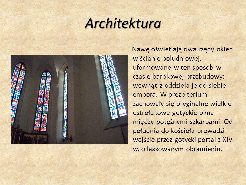 Architektura Nawę oświetlają dwa rzędy okien w ścianie południowej, uformowane w ten sposób w czasie barokowej przebudowy; wewnątrz oddziela je od siebie empora.