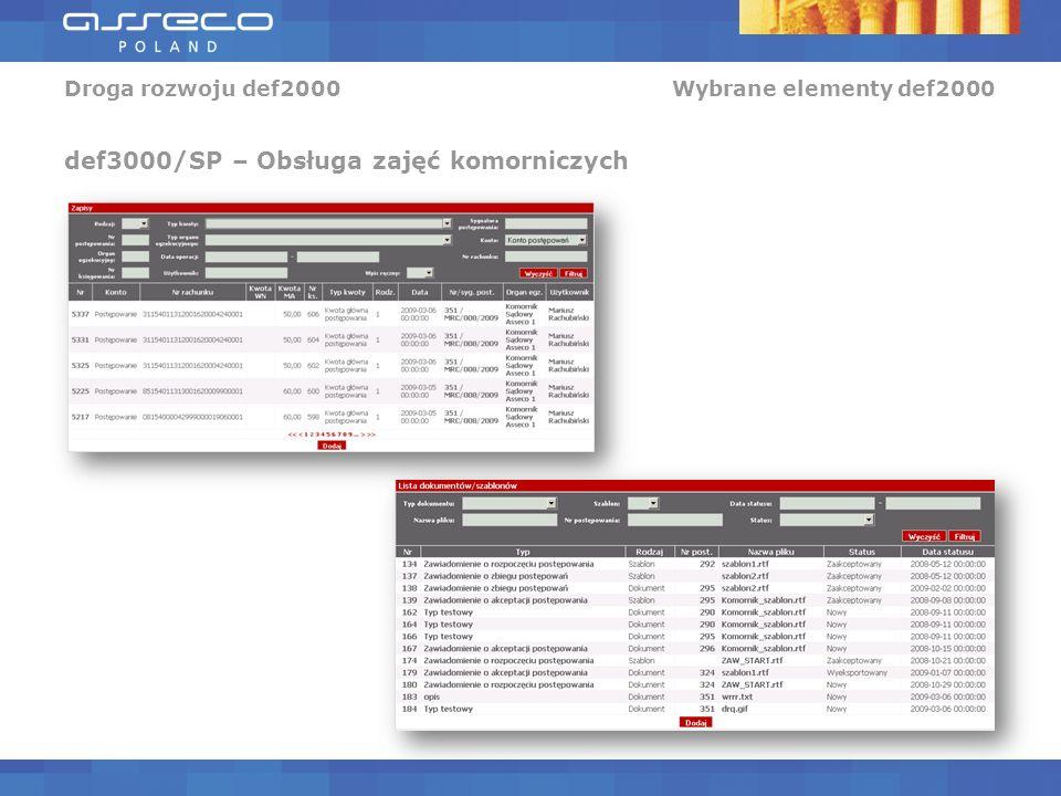 Droga rozwoju def2000 Wybrane elementy def2000 def3000/SP – Obsługa zajęć komorniczych