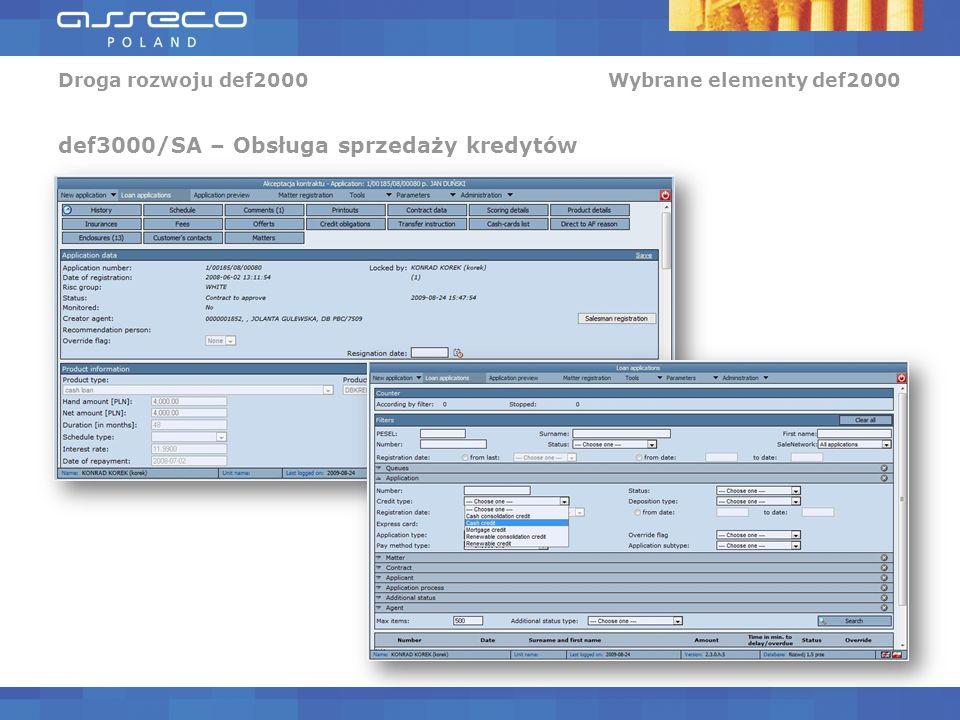 Droga rozwoju def2000 Wybrane elementy def2000 def3000/SA – Obsługa sprzedaży kredytów