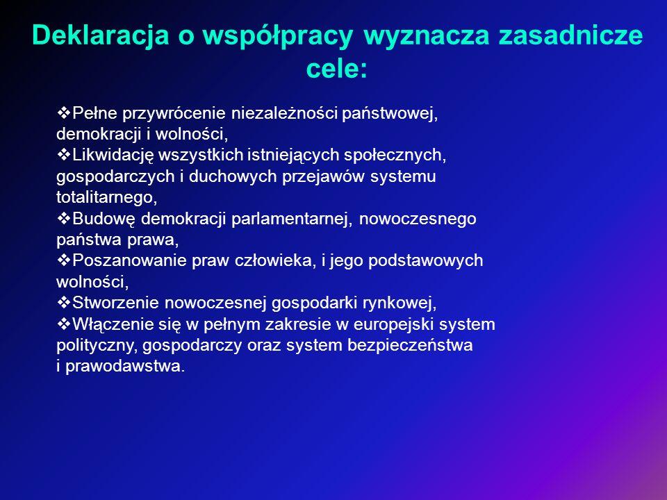 Deklaracja o współpracy wyznacza zasadnicze cele: Pełne przywrócenie niezależności państwowej, demokracji i wolności, Likwidację wszystkich istniejący
