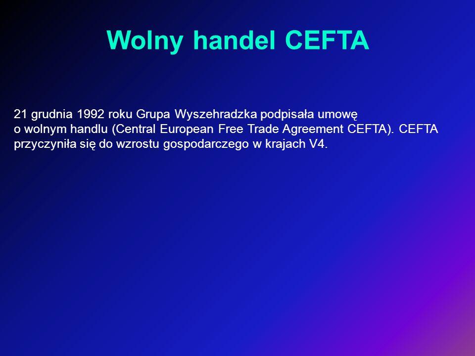 21 grudnia 1992 roku Grupa Wyszehradzka podpisała umowę o wolnym handlu (Central European Free Trade Agreement CEFTA). CEFTA przyczyniła się do wzrost