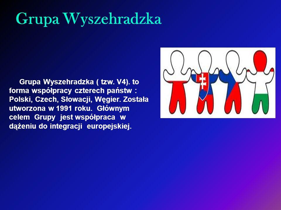 Grupa Wyszehradzka Grupa Wyszehradzka ( tzw. V4). to forma współpracy czterech państw : Polski, Czech, Słowacji, Węgier. Została utworzona w 1991 roku