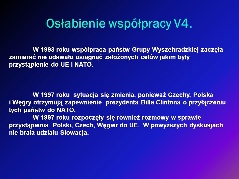 Osłabienie współpracy V4. W 1993 roku współpraca państw Grupy Wyszehradzkiej zaczęła zamierać nie udawało osiągnąć założonych celów jakim były przystą