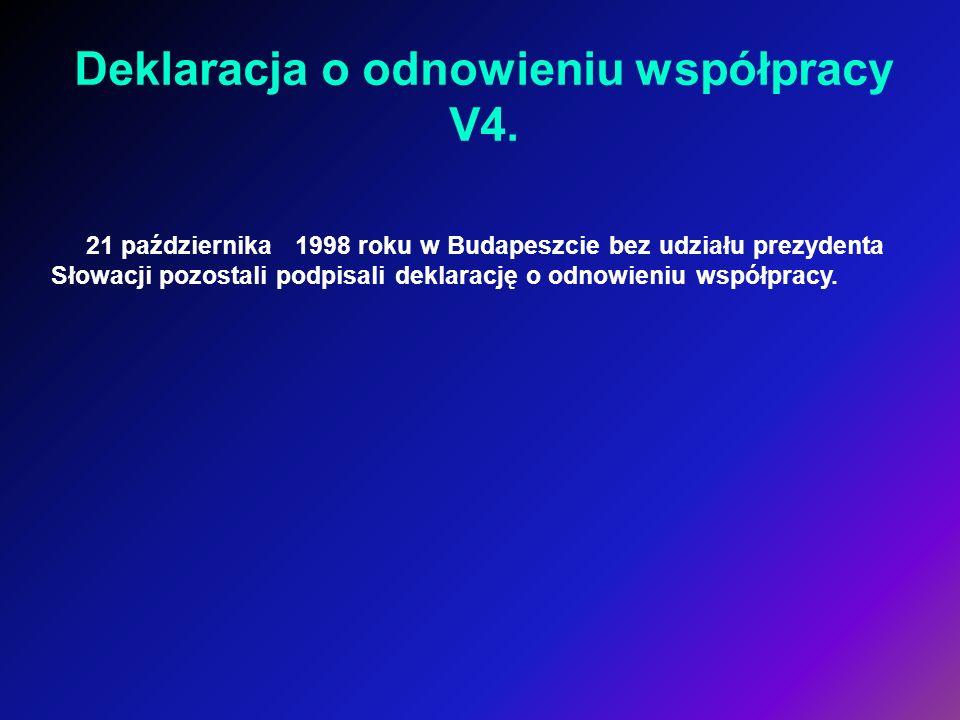 21 października 1998 roku w Budapeszcie bez udziału prezydenta Słowacji pozostali podpisali deklarację o odnowieniu współpracy. Deklaracja o odnowieni