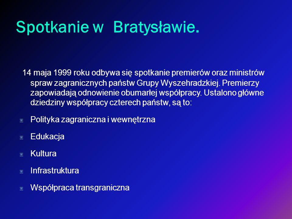 Spotkanie w Bratysławie. 14 maja 1999 roku odbywa się spotkanie premierów oraz ministrów spraw zagranicznych państw Grupy Wyszehradzkiej. Premierzy za