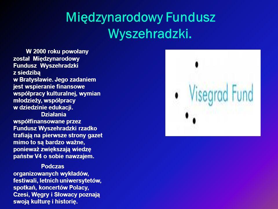 Międzynarodowy Fundusz Wyszehradzki. W 2000 roku powołany został Międzynarodowy Fundusz Wyszehradzki z siedzibą w Bratysławie. Jego zadaniem jest wspi