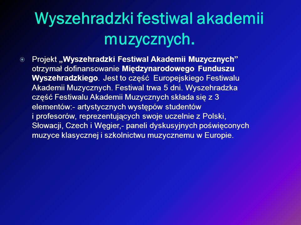 Wyszehradzki festiwal akademii muzycznych. Projekt Wyszehradzki Festiwal Akademii Muzycznych otrzymał dofinansowanie Międzynarodowego Funduszu Wyszehr