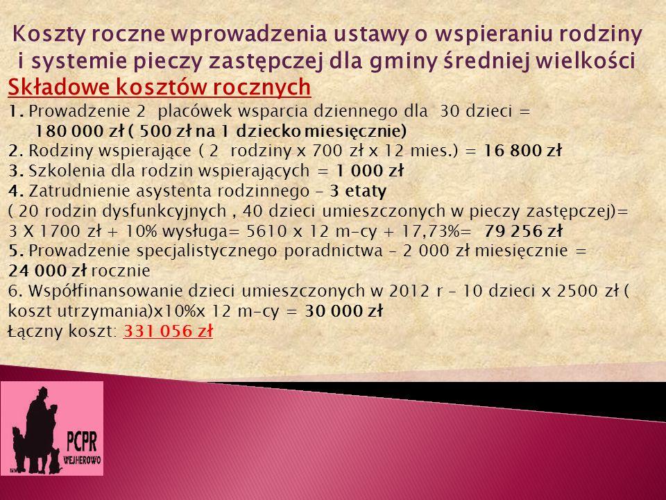 Koszty roczne wprowadzenia ustawy o wspieraniu rodziny i systemie pieczy zastępczej dla gminy średniej wielkości Składowe kosztów rocznych 1. Prowadze