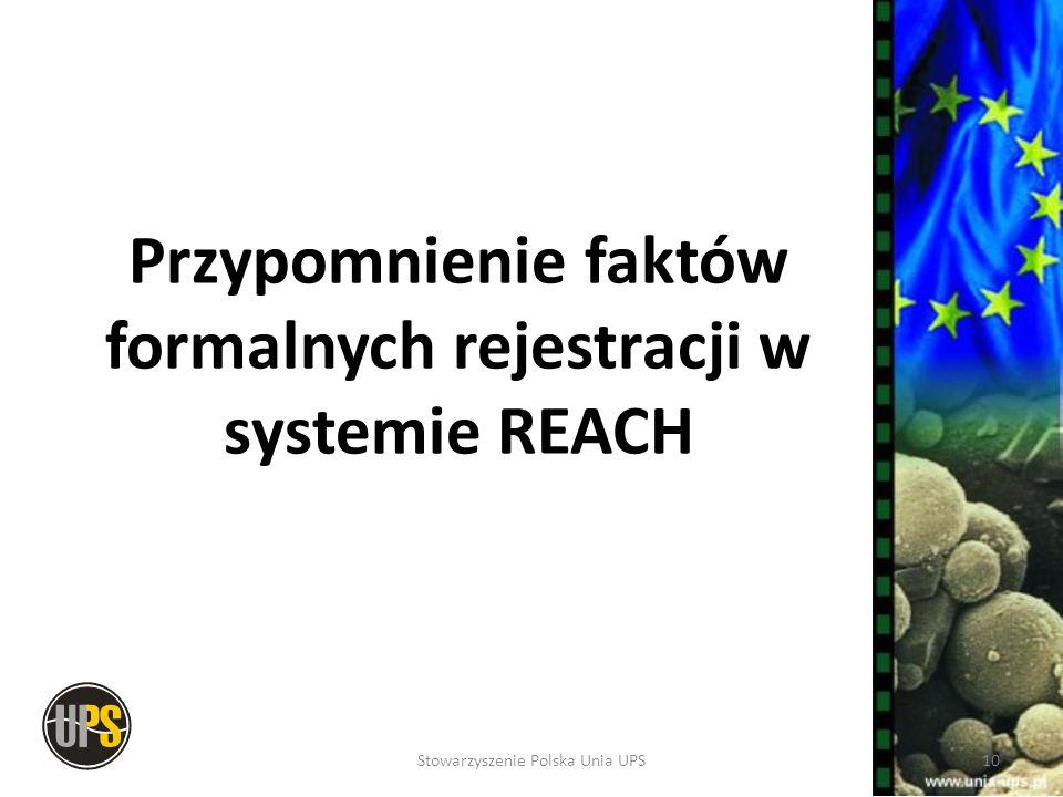 Przypomnienie faktów formalnych rejestracji w systemie REACH 10Stowarzyszenie Polska Unia UPS