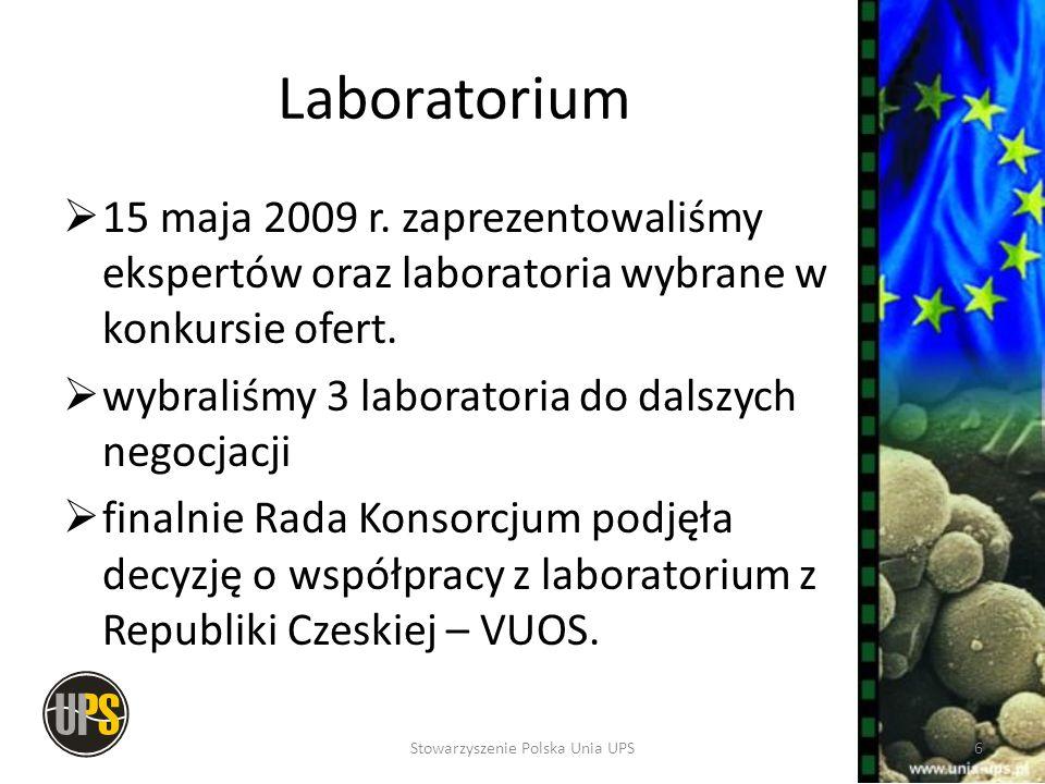 Laboratorium 15 maja 2009 r. zaprezentowaliśmy ekspertów oraz laboratoria wybrane w konkursie ofert. wybraliśmy 3 laboratoria do dalszych negocjacji f