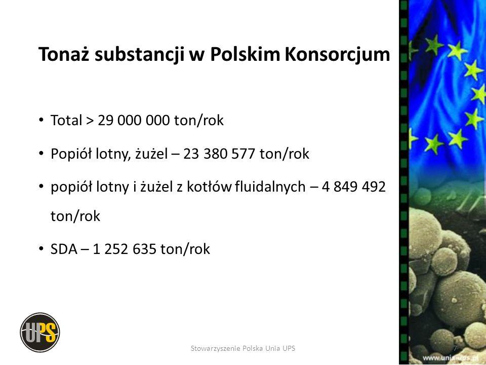 Tonaż substancji w Polskim Konsorcjum Total > 29 000 000 ton/rok Popiół lotny, żużel – 23 380 577 ton/rok popiół lotny i żużel z kotłów fluidalnych –