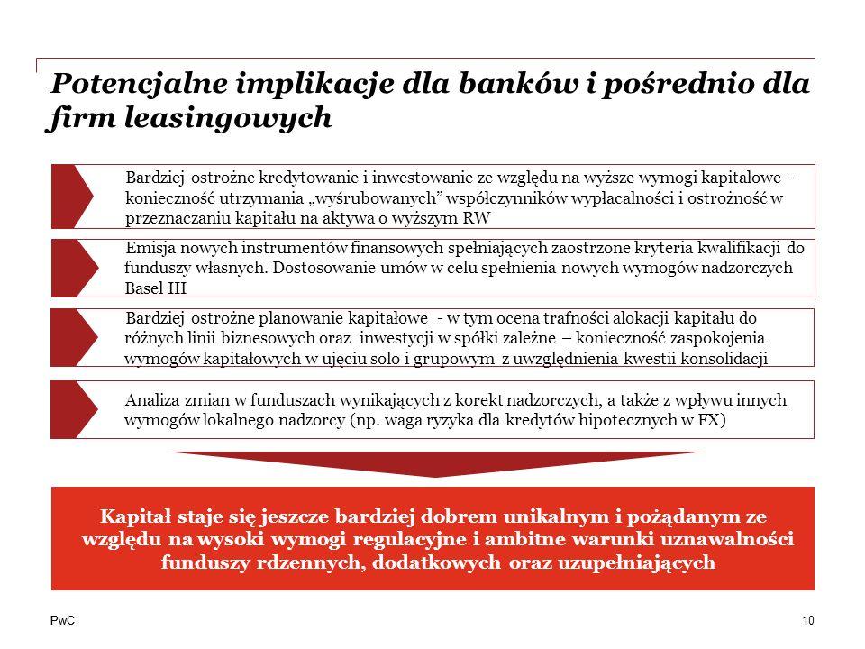 PwC Potencjalne implikacje dla banków i pośrednio dla firm leasingowych 10 Bardziej ostrożne kredytowanie i inwestowanie ze względu na wyższe wymogi k
