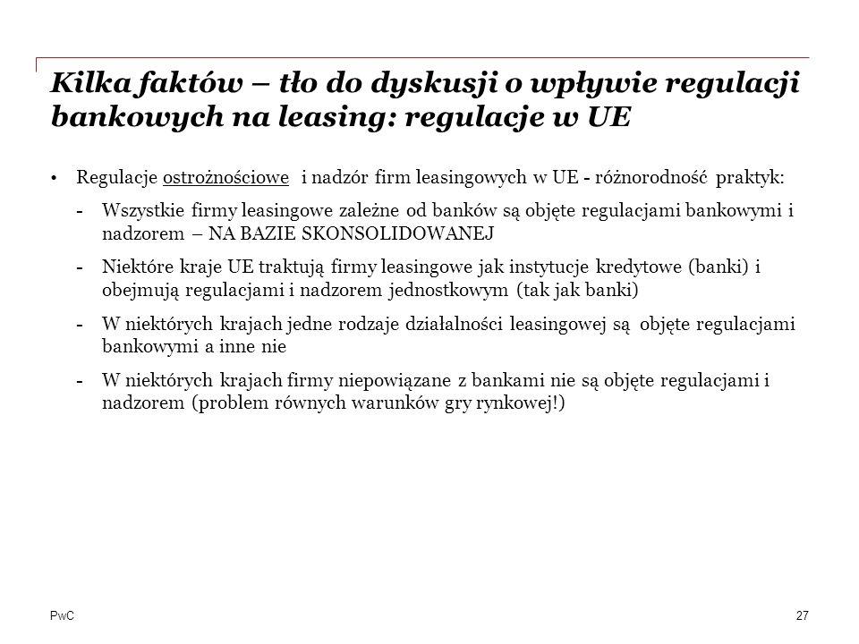 PwC Kilka faktów – tło do dyskusji o wpływie regulacji bankowych na leasing: regulacje w UE Regulacje ostrożnościowe i nadzór firm leasingowych w UE -