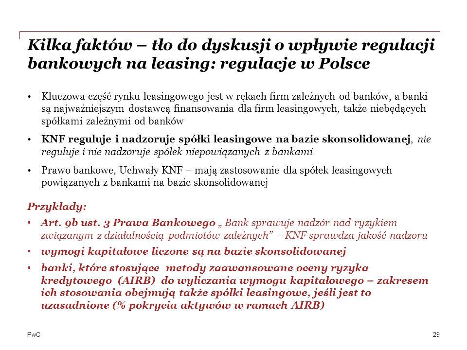 PwC Kilka faktów – tło do dyskusji o wpływie regulacji bankowych na leasing: regulacje w Polsce Kluczowa część rynku leasingowego jest w rękach firm z