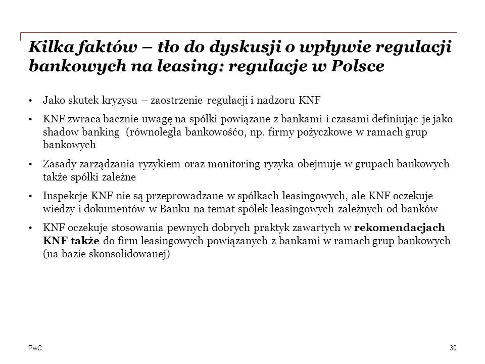 PwC Kilka faktów – tło do dyskusji o wpływie regulacji bankowych na leasing: regulacje w Polsce Jako skutek kryzysu – zaostrzenie regulacji i nadzoru
