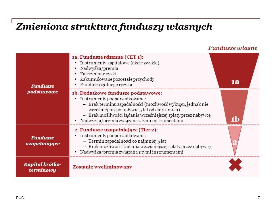 PwC Współczynniki stabilnego finansowania i wymaganego finansowania Dla każdej pozycji zobowiązań przypisane są wartości współczynników, określające wartość, która może być traktowa jako stabilna w horyzoncie powyżej 1 roku (tzw: ASF) Dla każdej pozycji aktywów i pozycji pozabilansowych przypisane są współczynniki, określające wartość, która może wymagać finansowania w horyzoncie powyżej 1 roku (tzw: RSF) NSFR Wymagany poziom finansowania i RSF Dostępny poziom finansowania i ASF 0% 20% 50% 100% 0% 50% 100% 5% 65% Pozostałe aktywa Kredyty zabezpieczone nieruchomościami (waga ponad 35%) pozostałe kredyty i pożyczki dla osób fizycznych oraz SME Kredyty zabezpieczone nieruchomościami (waga 35%) Akcje, komercyjne papiery dłużne, kredyty dla przedsiębiorstw niefinansowych, rządów, banków centralnych, jednostek sektora publicznego Papiery wartościowe wysokiej jakości Gotówka Emisje własne (do 1 roku) Niezabezpieczone finansowanie (do 1 roku) Depozyty od osób fizycznych i SME Niezabezpieczone finansowanie w tym emisje własne (pow.