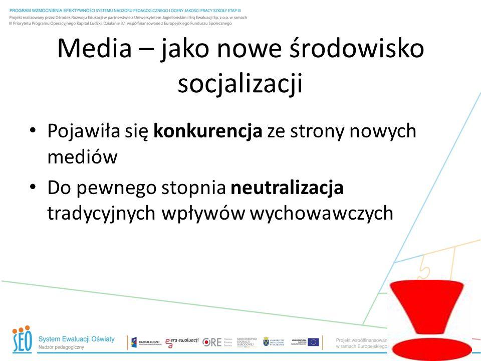 Media – jako nowe środowisko socjalizacji Pojawiła się konkurencja ze strony nowych mediów Do pewnego stopnia neutralizacja tradycyjnych wpływów wycho