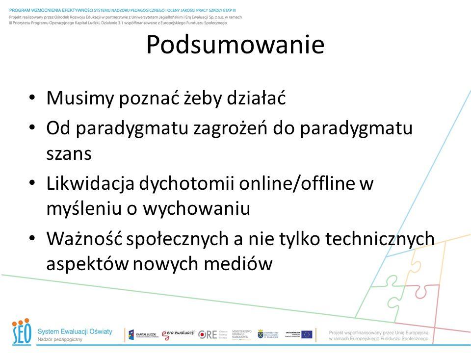Podsumowanie Musimy poznać żeby działać Od paradygmatu zagrożeń do paradygmatu szans Likwidacja dychotomii online/offline w myśleniu o wychowaniu Ważn