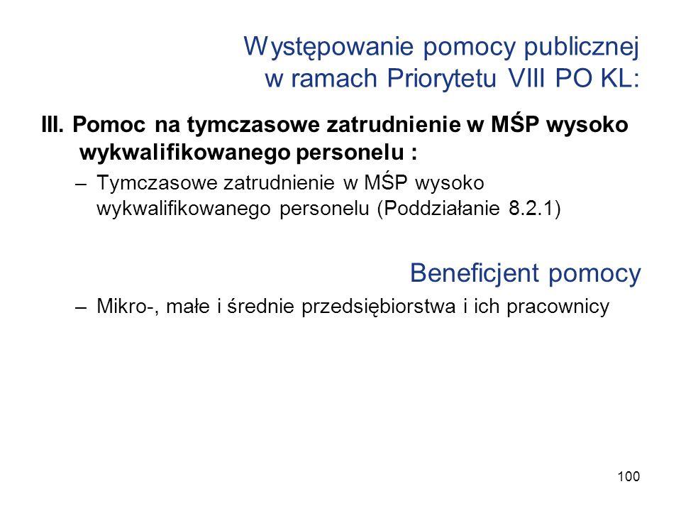 Występowanie pomocy publicznej w ramach Priorytetu VIII PO KL: III. Pomoc na tymczasowe zatrudnienie w MŚP wysoko wykwalifikowanego personelu : –Tymcz