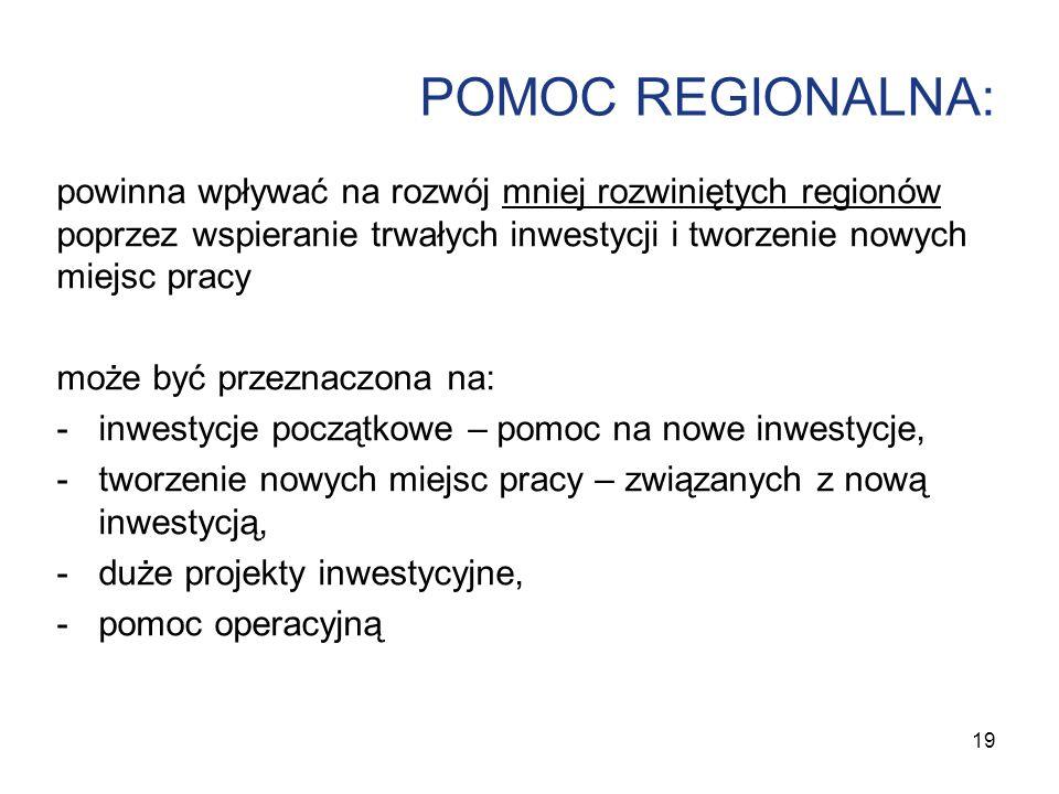 POMOC REGIONALNA: powinna wpływać na rozwój mniej rozwiniętych regionów poprzez wspieranie trwałych inwestycji i tworzenie nowych miejsc pracy może by