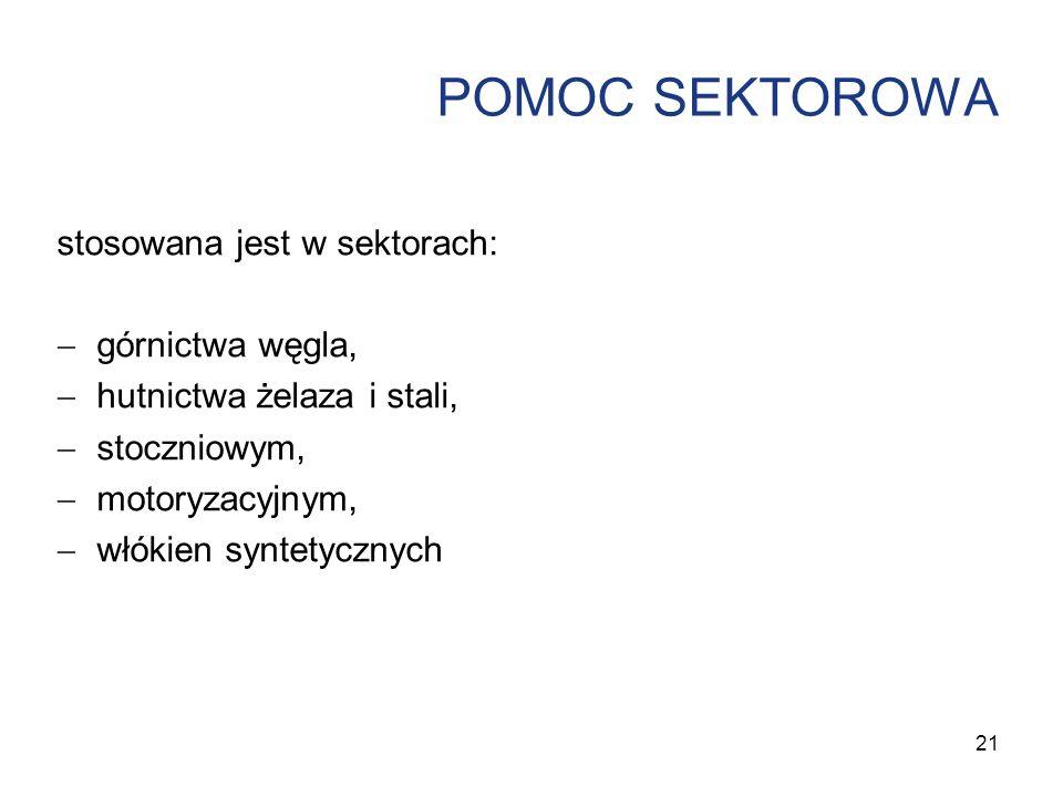 POMOC SEKTOROWA stosowana jest w sektorach: górnictwa węgla, hutnictwa żelaza i stali, stoczniowym, motoryzacyjnym, włókien syntetycznych 21