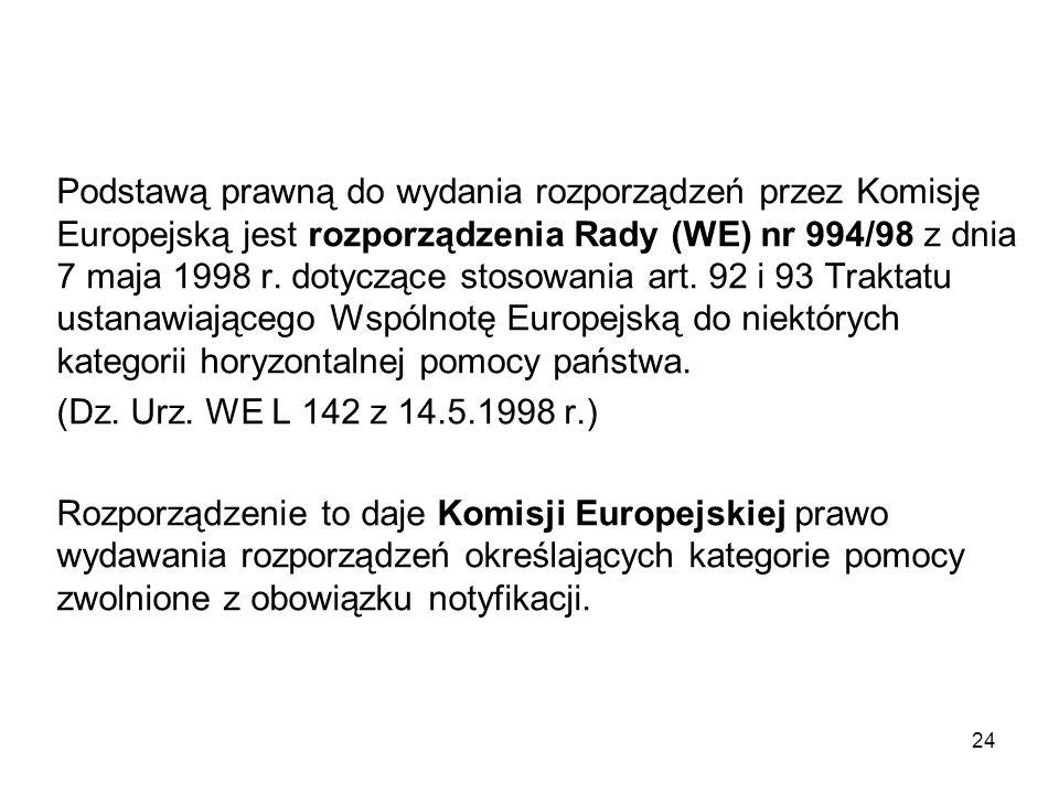 Podstawą prawną do wydania rozporządzeń przez Komisję Europejską jest rozporządzenia Rady (WE) nr 994/98 z dnia 7 maja 1998 r. dotyczące stosowania ar