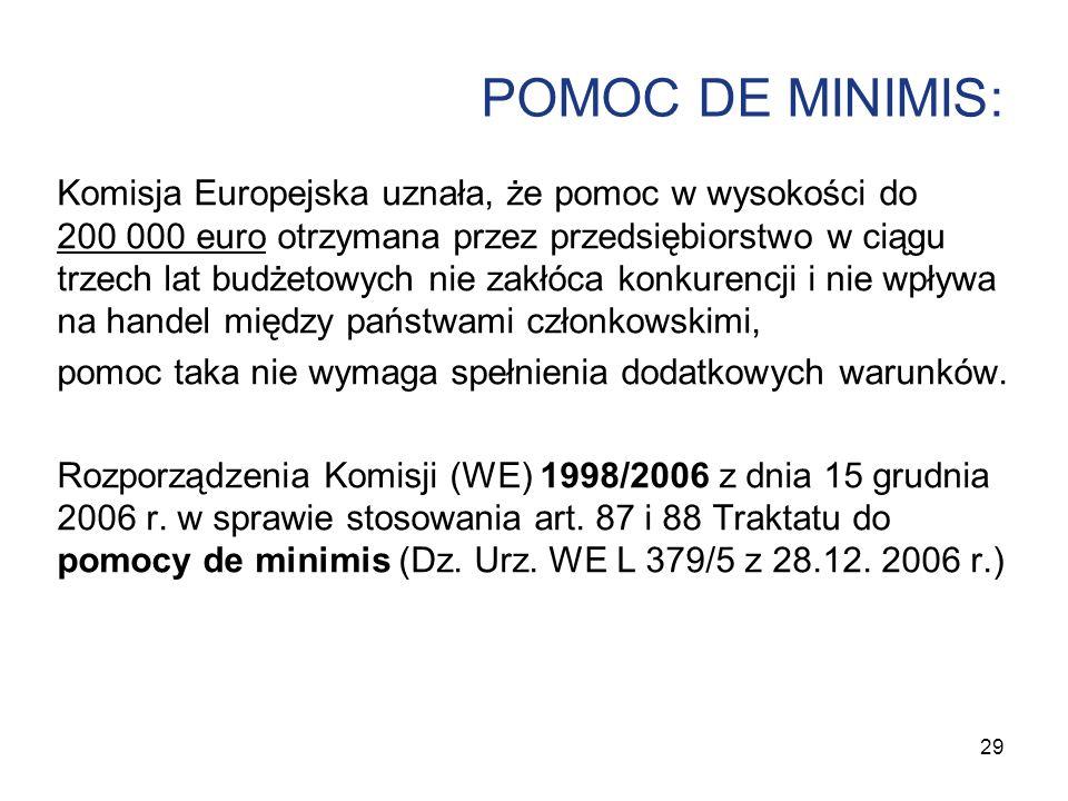 POMOC DE MINIMIS: Komisja Europejska uznała, że pomoc w wysokości do 200 000 euro otrzymana przez przedsiębiorstwo w ciągu trzech lat budżetowych nie